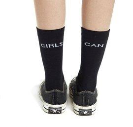 """Czarne skarpetki z napisem """"Girls Can"""""""
